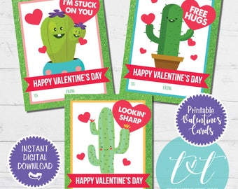 CACTUS VALENTINE'S CARDS, Printable Valentine's Day Cards, Kids Valentine's Cards Instant Download