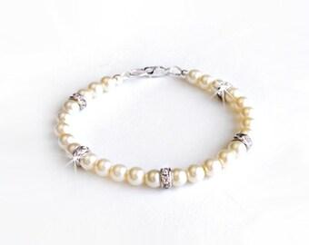 Bracelet - Classic Pearl Rhinestone Bracelet - Sterling Silver - White, Ivory, Blush Pearls - Bridal Bracelet - Bridesmaid Gift Bracelet
