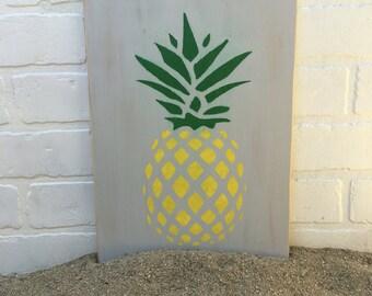 Handpainted Pineapple Wood Sign - Summer Decor, Wood Signs, Pineapple, Home Decor, Birthday Party