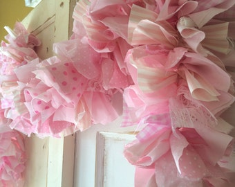 Pink burlap fabric Garland.  Handmade pink party decoration.  Perfect for Baby Showers, Birthday Party or any Girls Party
