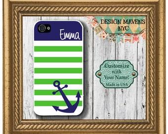 Preppy Anchor Stripe Monogram iPhone Case, Spring iPhone Case, Nautical iPhone 7, 7 Plus, iPhone 6, 6s, 6 Plus, SE, iPhone 5, 5s, 5c, 4, 4s