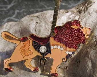 Lion Carousel Pin Brooch King of the Beasts Merry-Go-Round Pin