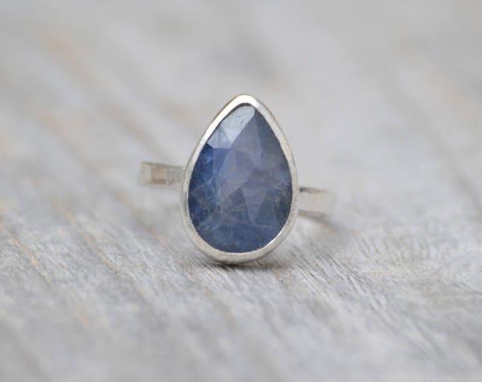 Rose Cut Sapphire Ring, 3.95ct Raindrop Sapphire Statement Ring, September Birthstone Ring, Wedding Gift, Something Blue Gift