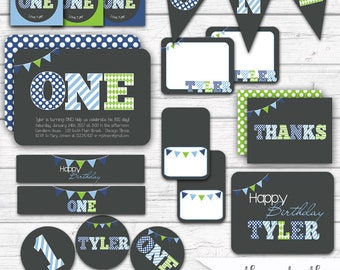 First Birthday Boy, First Birthday Party Decorations, Party Package, Printable Blue and Green Polka Dots Stripes Argyle, Printable Party Kit
