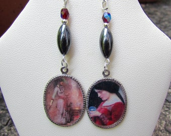 Gothic Medieval Waterhouse Witches Earrings with Genuine Hematie