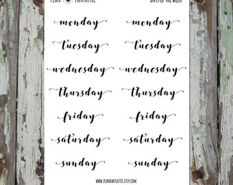 Days of the Week Planner Stickers - Journal Stickers - Set 5
