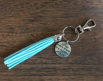 After Every Storm is a Rainbow of Hope, Tassel Key Chain, Purse Charm, Handmade in California, Ready to Ship, Wholesale Available