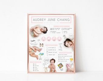 Custom First Year Infographic Milestones Poster Board 16x20 - baby one year birthday - digital printable