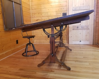 Rare Frederick Post Adjustable 1930u0027s Post Industrial Wood And Iron Drafting  Table Vintage Machine Age