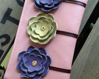 Ready to Ship Pink Purple Green Leather Wristlet Clutch Small Purse Iphone Galaxy Cell Phone Brown Poppy Flowers with Key Fob