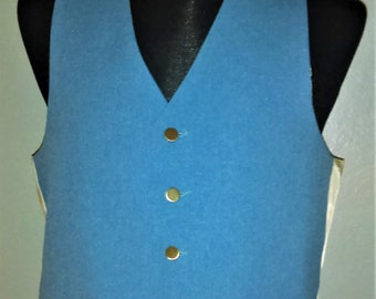 1970s LEVI'S PANATELA Suit Vest in Chambray Blue--Flawless!