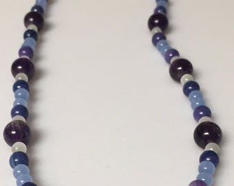 Amethyst, Dark Blue Shell and White Cats Eye Necklace