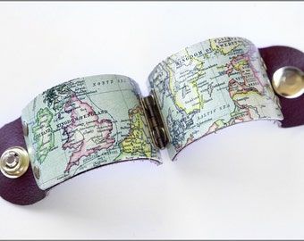 Antique Vintage Europe Travel Map Cuff Bracelet