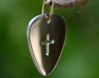 Handmade Silver Guitar Pick with Cross and Copper Bail
