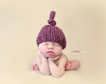 Top Knot Hat - Chunky Knit Photo Prop - Newborn, Baby, Child