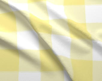 Plaid Buffalo Check Fabric - Large Yellow Buffalo Check Gingham By Sugarfresh - Large Buffalo Check Fabric With Spoonflower
