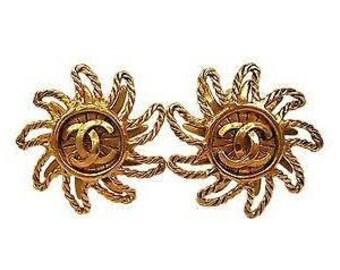 Vintage Chanel Logo Sun Clip Gold Costume Earrings 1994