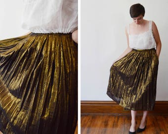 80s Gold Metallic Skirt - S