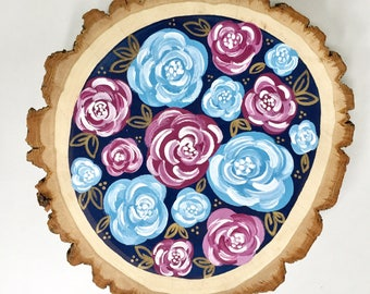 Navy, Light Blue, & Mulberry Floral 7x7in. Wood Round