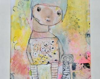 Original Mixed Media Art - Whimsy Childlike Art - Whimsical Illustration – Kids Wall Art - Naive Child Art - Girls Nursery Art