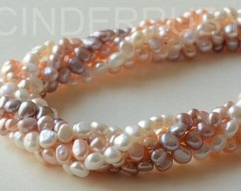 White Baroque Nugget Freshwater Pearls,Potato Pearls,Peachy Pearls,Mauve Pearls,5-6 mm,Full Strand,Jun Birthstone