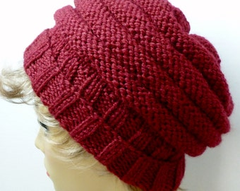 Hand Knit Beehive Slouch Hat Color Wine (H-137)