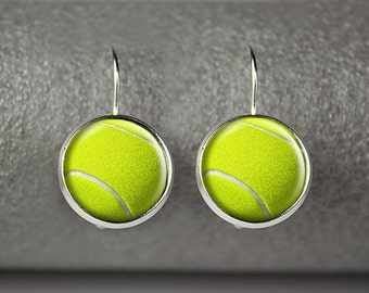 Tennis ball earrings, Tennis earrings, Tennis sport jewelry