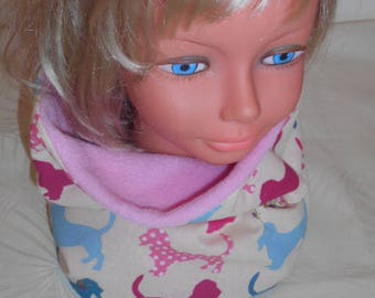 Pink floral girl Snood - cotton face and a pole face dog