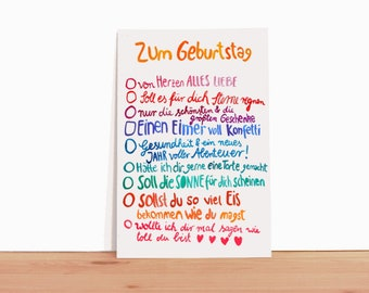 Birthday Card *Wishes* (text in German)