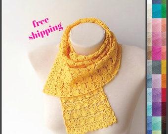 Yellow scarf, Crochet lace scarf, Women scarfs, Crochet summer scarf, Knit yellow scarf, Summer lace scarf, Lightweight scarf, Crochet scarf