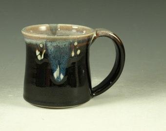 Small pottery Mug (12oz) in tenmoku black glaze - great morning coffee mugs