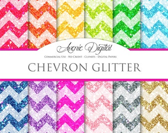 Glitter Chevron Digital Paper. Scrapbooking Backgrounds, zig zag patterns for Commercial Use. Rainbow . Instant Download.