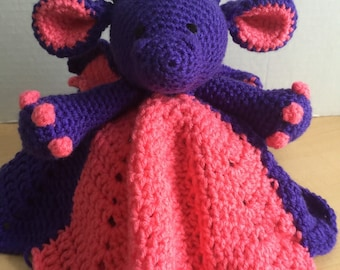 Crochet Snuggle Baby Dragon Lovey Dinosaur Wubby Security Cuddle Travel Blanket