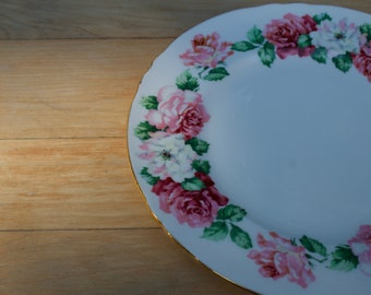 Vintage Crown Staffordshire Plate, Trinity Rose Pattern