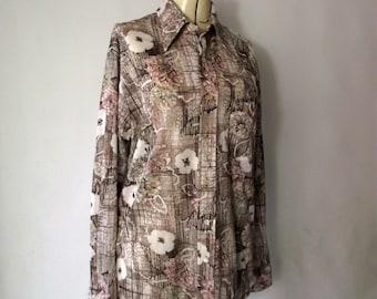 Men's Vintage 70s Disco Shirt Pierre La Grande Donegal Large Neutral Floral Knit