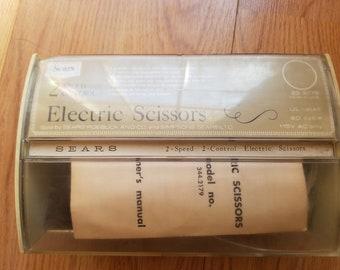 SEARS *Vtg 2-Speed Electric Dressmakers Scissors with Case* Model 344-2179, Retro Scissors, WORKS