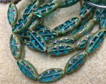 Spindle Beads Capri Blue with Picasso Carved Czech Pressed Glass Spindles 17x8mm 10 beads 0865