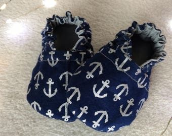 Navy Blue, Anchors and Grey Reversible Baby Boy Shoes