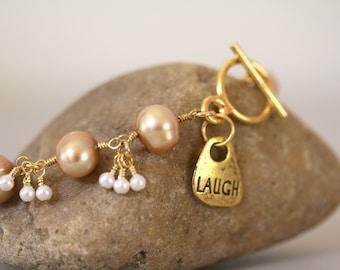 Champagne and White Pearl Bracelet, Inspirational Jewelry, Inspirational Bracelet, Gold and Tan, Toggle Bracelet