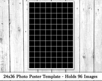 24x36 Photo Template, Photo Collage, Poster Template, Photography Template, Instagram Template, Instant Download, Holds 96 Images