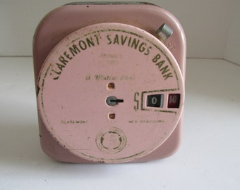 1942 Coin Bank Claremont Savings Bank Claremont NH Vintage Tin Banks Money Bank Coin Collecting US Coin Bank Advertising Old Piggy Bank