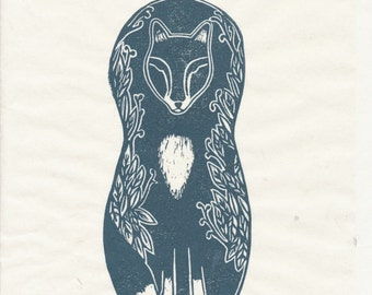 Brother Fox Rubber Block Print