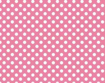 OOAK #1316 - 19 x 44 - Hot Pink Small Dots Fabric 1/2 Yard by Riley Blake Designs