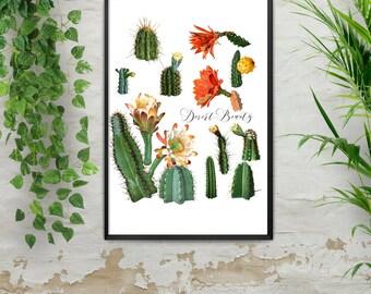 Cactus Print, Vintage Cactus, Vintage Cactus Print, Boho Cactus Art, Cactus Painting, Desert Print, Desert Vintage Print, Digital Download