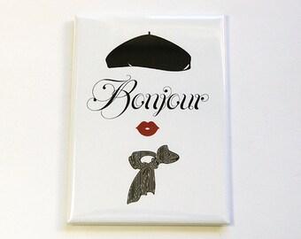 Fridge magnet, Bonjour, Kitchen magnet, ACEO, Magnet, stocking stuffer, Black, White, Bonjour magnet, French, Paris (4824)