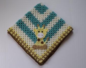 Giraffe Baby Blanket - Baby Blanket -  Baby Blanket with Giraffe Applique - Crochet Giraffe Baby Blanket