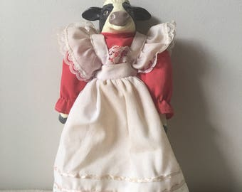 Vintage Cow doll-Jersey cow-black and white with red dress-Farm house--art doll-animal doll-Ranch house decor-cows-home-country-kitchen-room