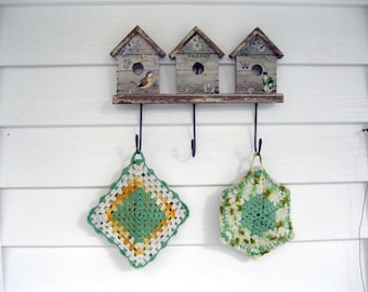 Crochet Pot Holders,  Orange and Green Wall Hanging Pot Holders, Trivets, Hot Pads, Shabby French Decor, by mailordervintage on etsy