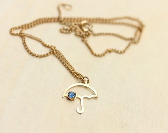 Umbrella Crystal Necklace, Gold Crystal Necklace, Umbrella Necklace, Crystal Necklace, Blue Necklace, Gold Chain Necklace