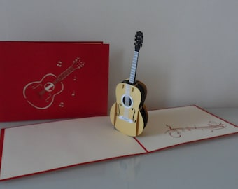 Guitar Musical Instrument Pop up Card blank-birthday-congratulations (sku022)